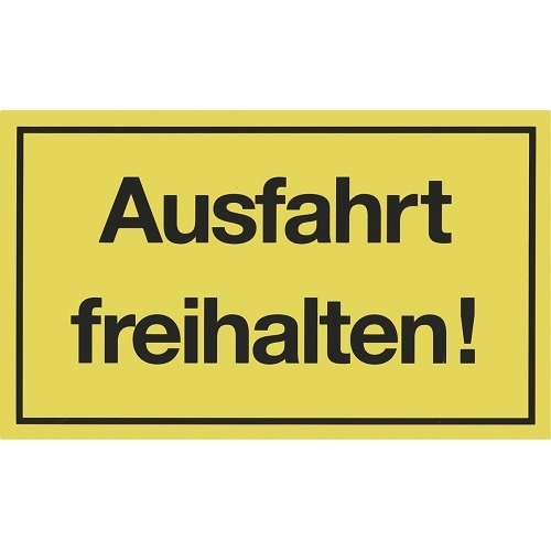 warn schild ausfahrt freihalten gelb 25x15 cm hinweis. Black Bedroom Furniture Sets. Home Design Ideas