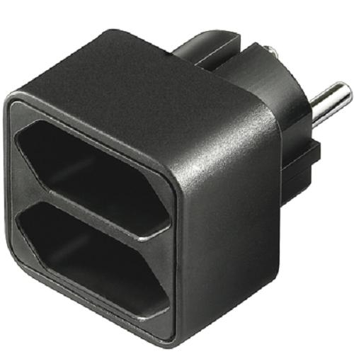 goobay adapter stecker schuko 2x euro buchse schwarz steckdosen verteiler ebay. Black Bedroom Furniture Sets. Home Design Ideas