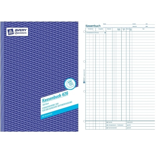 Avery Zweckform Kassenbuch 426, 100 Blätter, Blaupapier, EDV Steuerschiene 300