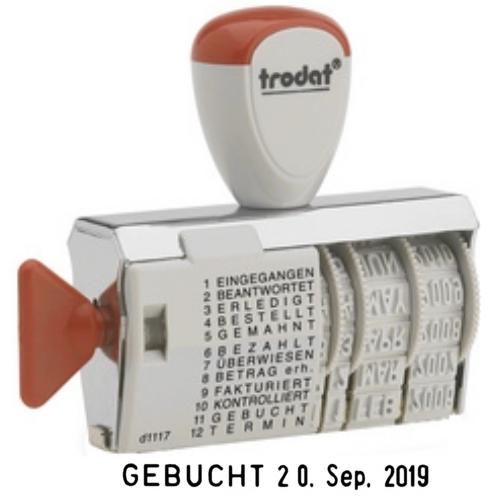 Trodat Wortband Stempel 1117, 12 Texte, Textstempel Datumsstempel
