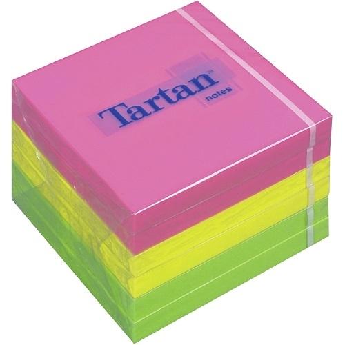 Tartan Notes Haftnotizen, 127x76 mm, 6 Blöcke, Neon Klebezettel, Haftzettel