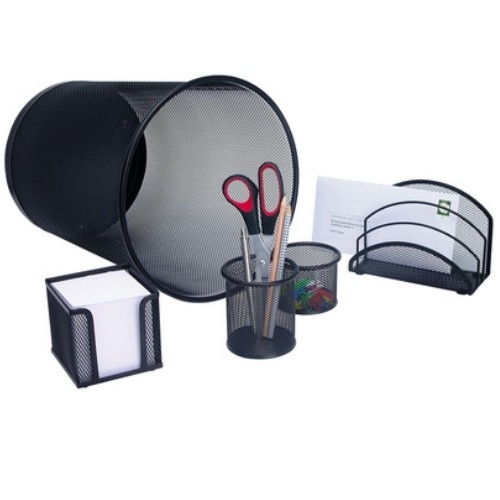 wedo schreibtisch set office 5 teilig schwarz papierkorb b ro ausstattung ebay. Black Bedroom Furniture Sets. Home Design Ideas
