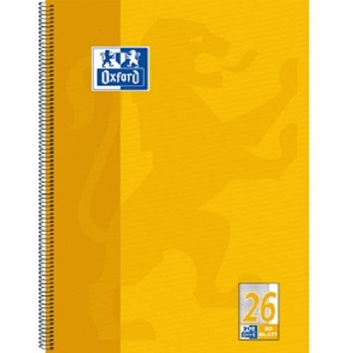 Oxford Collegeblock, 10 Blöcke, kariert, Rand rechts, gelb 26, Spiralblock 80 Bl