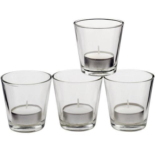teelicht gl ser 4er set glas 6 5 cm teelichter kerzenhalter 4 teelichtgl ser ebay. Black Bedroom Furniture Sets. Home Design Ideas