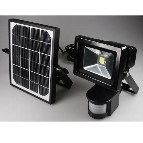 LED-Fluter mit Bewegungsmelder, Solar-Zelle, Akku
