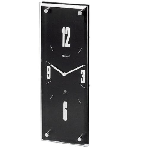 mebus funk wanduhr glas holz 42x14 5 cm schwarz funkuhr wand uhr glasuhr ebay. Black Bedroom Furniture Sets. Home Design Ideas