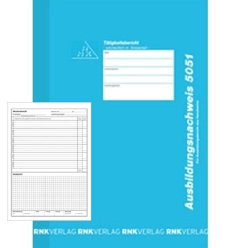 RNK Ausbildungsnachweis-Heft für Handwerk 30 Bl, handwerkliche Ausbildungsberufe